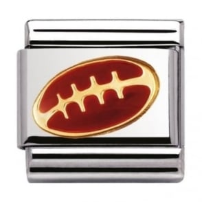 Nomination Classic Gold and Enamel American Football Charm
