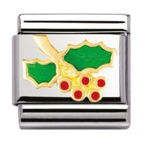 Nomination Classic Gold and Enamel Holly Charm
