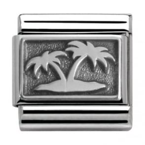 Nomination Classic Silver Summertime Island with Palm Trees