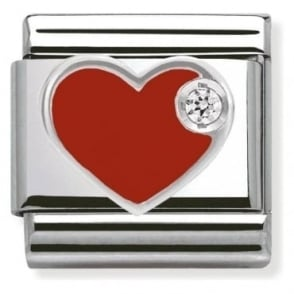 Nomination Stainless Steel, Silver, Enamel & Cubic Zirconia Heart Classic Charm