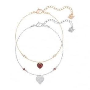Swarovski Crystal Wishes Heart Bracelet Set, Red