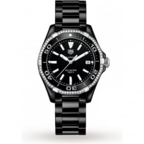 Tag Heuer Ladies Ceramic Aquaracer With Diamond Bezel Watch