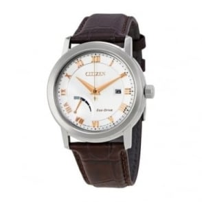Citizen Mens Leather Eco-Drive Watch - AW7020-00A