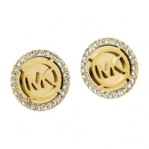 Michael Kors Jewellery Gold MK Logo Earrings