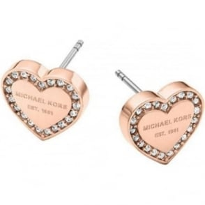 Michael Kors Jewellery Rose Gold Heritage Heart Earrings