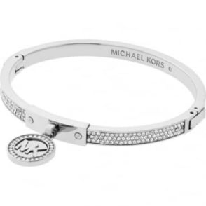Michael Kors Jewellery Silver Hinged Crystal Bangle - MKJ5977040