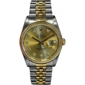 Pre-Owned Rolex Men's Bi-Metal DateJust, Diamond Dot Dial. 16233