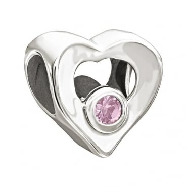 Chamilia Jewelled Heart Pink CZ Charm 2025-0676