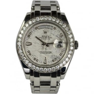 Pre-Owned Rolex Mens Platinum Pearlmaster Day-Date with Diamond Bezel and Meteorite Dial 18946
