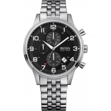 Hugo Boss Mens Stainless Steel Black Dial Chronograph Watch - 1512446
