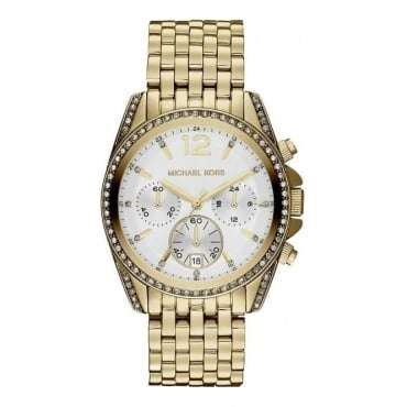 Michael Kors Ladies Gold Pressley Chronograph Watch - MK5835
