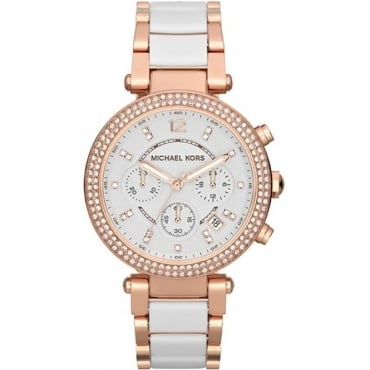 Michael Kors Ladies Parker Rose Gold Ceramic Watch MK5774