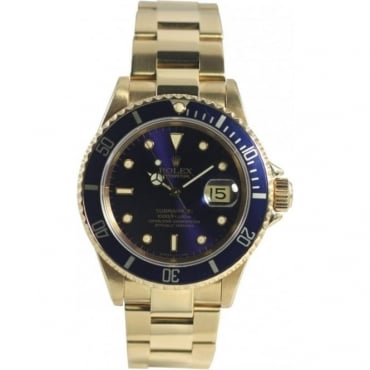 Pre-Owned Rolex Men's 18ct Yellow Gold Submariner Watch. 11618