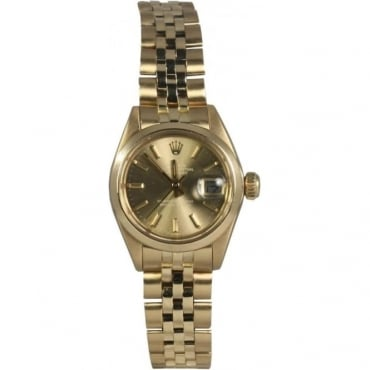 Pre-Owned Rolex Ladies 18ct Yellow Gold Oyster Perpetual DateJust Watch. 6917