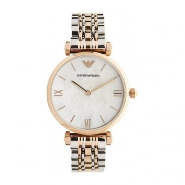 Emporio Armani Ladies White Mother Of Pearl Watch