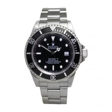 Pre-Owned Rolex Mens Sea-Dweller with Black Dial on an Oyster Bracelet 16600