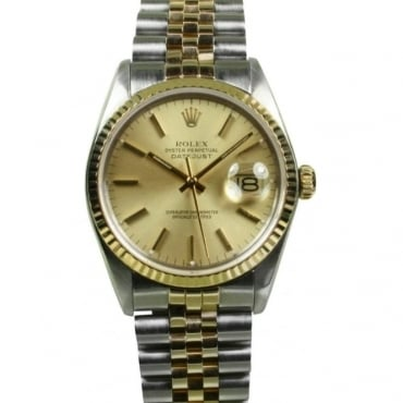 Pre-Owned Rolex Mens Bi-Metal Oyster Perpetual Datejust with Champagne Dial and Jubilee Bracelet 16030