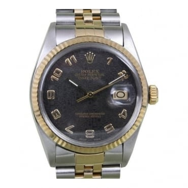 Pre-Owned Rolex Gents Bi-Metal Datejust with Charcoal Dial and Jubilee Bracelet 16013