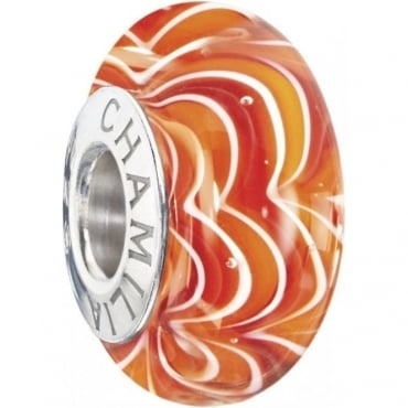 Chamilia Sound Waves Murano Ring of Fire Bead 2110-1190