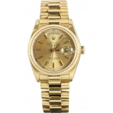 Pre-Owned Rolex Mens 18ct Yellow Gold Day Date