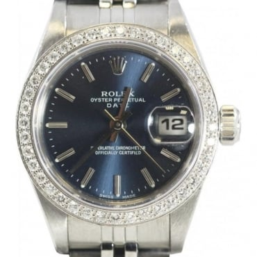 Pre-Owned Rolex Ladies Diamond Set Date Watch AFTER MARKET CUSTOMISATION