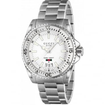 Dive White Dial Stainless Steel Watch YA136302