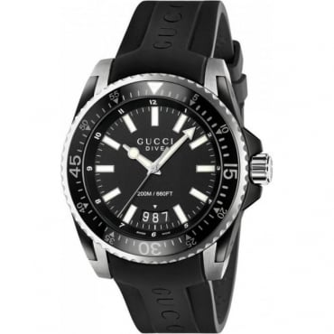 Dive Black Rubber Strap Watch