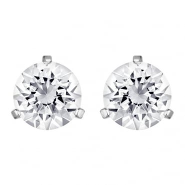 LADIES SOLITAIRE PIERCED EARRINGS, WHITE, RHODIUM PLATING 10800046