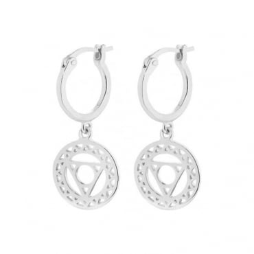 Silver Throat Chakra Drop Earrings - ECHK1005