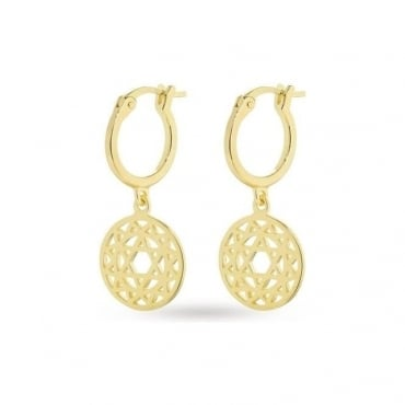 Gold Heart Chakra Drop Earrings - ECHK2004