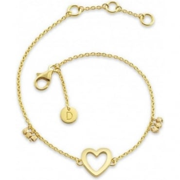 Gold Plated Good Karma Open Heart Bracelet