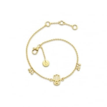 Gold Hand of Fatima Good Karma Chain Bracelet