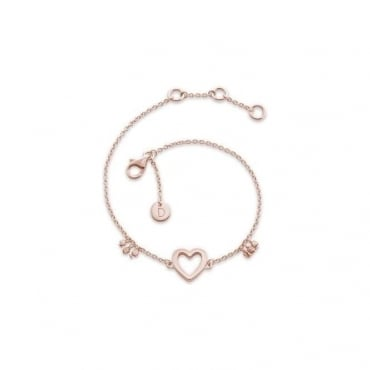 Open Heart Good Karma Chain Bracelet Rose Gold