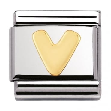 Nomination Classic Gold Letter V Charm - 03010122