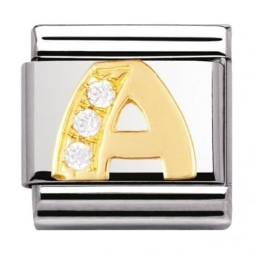 Nomination Classic Gold Letter A Crystal Charm - 03030101