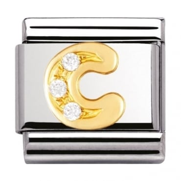 Nomination Classic Gold Letter C Crystal Charm - 03030103