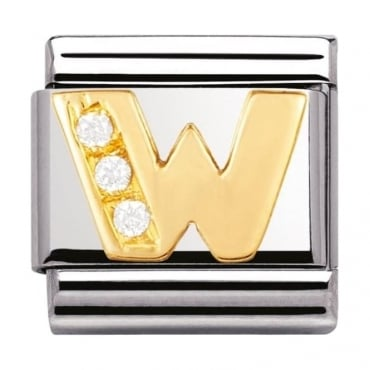 Classic Gold Letter W Crystal Charm - 03030123