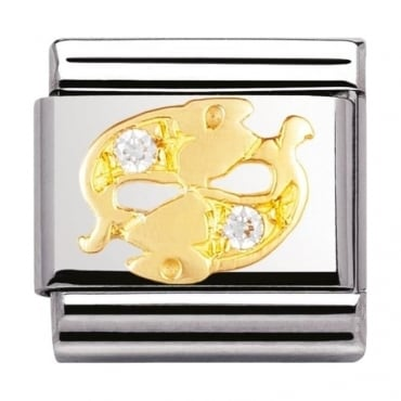 Nomination Classic Gold Crystal Zodiac Pisces Charm - 03030212