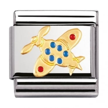 Classic Gold And Enamel Airplane Charm - 03021006