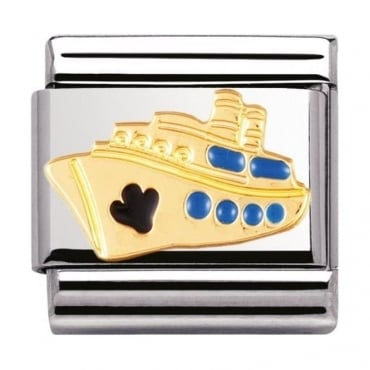 Classic Gold And Enamel Cruise Ship Charm