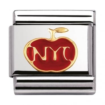 Nomination Classic Gold and Enamel N.Y.C Apple Charm