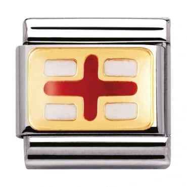 Nomination Classic Gold and Enamel England Flag Charm
