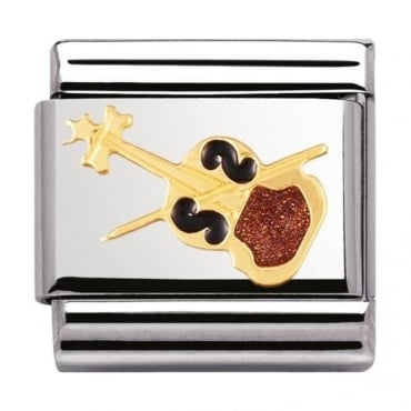 Nomination Classic Gold and Enamel Violin Charm