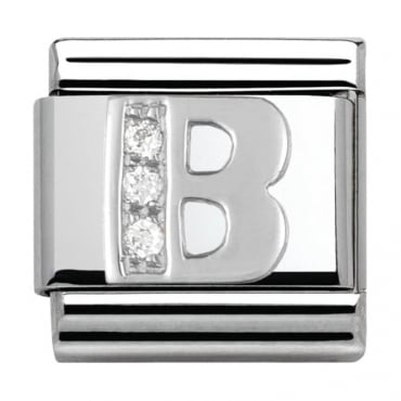 Classic Silver Letter B - Crystal