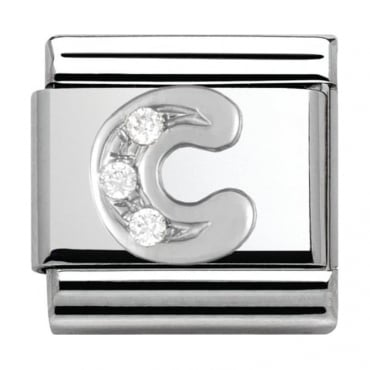 Classic Silver Letter C - Crystal