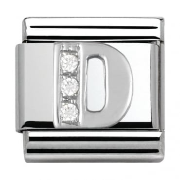 Classic Silver Letter D - Crystal