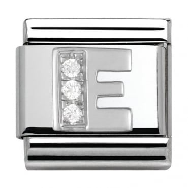 Classic Silver Letter E - Crystal