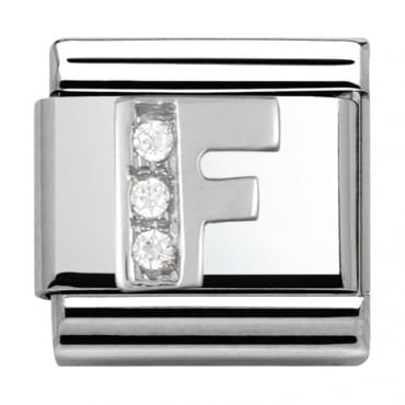 Classic Silver Letter F - Crystal