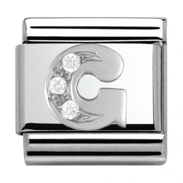 Classic Silver Letter G - Crystal