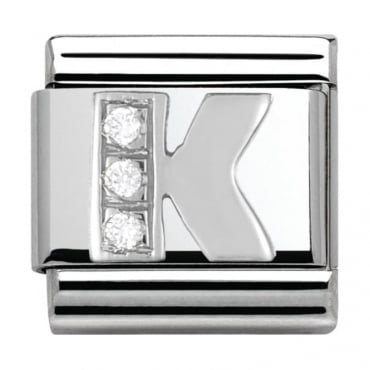 Classic Silver Letter K - Crystal